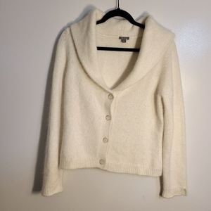 Ann Taylor Cardigan Wool V–neck white sz Large